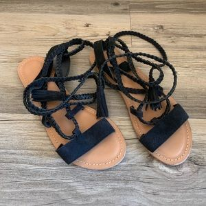 ASOS Black Suede Braided Lace Up Sandals